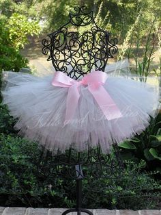 Tutu in Silver and Pink with Pink Satin Bow in Baby to Adult Sizes