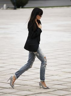 Distressed denim is the look for fall.