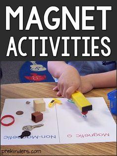 Magnet Experiments Magnet Activities: Science for Preschool & Pre-K Science Experiments For Preschoolers, Preschool Science Activities, Pre K Activities, Cool Science Experiments, Preschool Learning Activities, Science For Kids, Science Centers, Science Classroom, Steam For Preschool