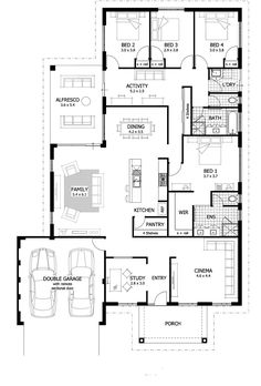 Floor Plan Friday: Study, home cinema, activity room & large undercover alfresco area Hi there! Today I have this family home featuring a study, home cinema, activity room and large undercover alfresco area. Large House Plans, Family House Plans, New House Plans, Dream House Plans, House Floor Plans, Home And Family, Single Storey House Plans, Family Houses, Small Houses