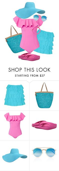 """""""Pink & Aqua Beach Time"""" by sherrysrosecottage-1 ❤ liked on Polyvore featuring Victoria's Secret PINK, Roxy, Lisa Marie Fernandez, Oofos, Ray-Ban and Moon and Lola"""