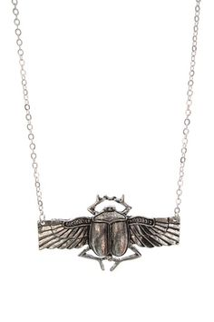 Jumbo Silver Scarab Necklace