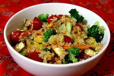 Quinoa is high in protein, and you'll be happy to know it stands on its own as a complete protein. One cup of cooked quinoa offers 254 calories. Mix it with some roasted veggies and tofu (another complete protein), and this über-healthy dish is well under 400 calories.