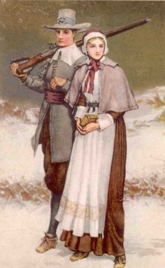 Pilgrim couple, perhaps they're on their way to the First Thanksgiving Dinner!