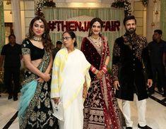 Nusrat Jahan wedding reception: Mamata Banerjee, Mimi Chakraborty join the newlyweds at the bash. Lehenga Suit, Green Lehenga, Lehenga Gown, Bridal Lehenga, Pakistani Formal Dresses, Indian Dresses, Indian Wedding Couple Photography, Girl Photography, Couple Wedding Dress