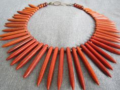 reddish brown stone spikes bib or choker necklace