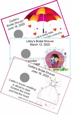 Personalized lottery style scratch and win tickets are fast becoming the most popular bridal shower game out there!