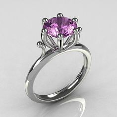 Modern 14K White Gold 1.75 Carat Round Lilac Amethyst Solitaire Ring