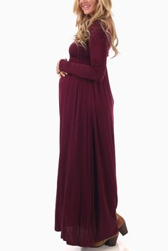 Burgundy-Long-Sleeve-Maternity-Maxi-Dress: How to Dress when Pregnant. You can still look stylish and feel good when dressing for a pregnant body. Shower Outfits, Baby Shower Dresses, Baby Shower Dress Winter, Maternity Maxi, Long Sleeve Maternity Dress, Cheap Maternity Dresses, Maxi Dresses, Burgundy Dress, Feminine Fashion