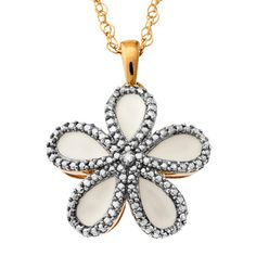 Diamond Accent White Enamel Flower Pendant