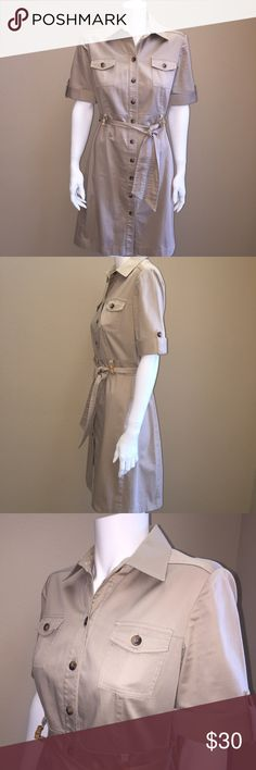 Tahari Arthur S. Levine Safari khaki dress, career or casual Tahari Dresses Midi