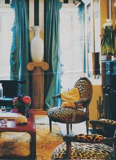 Miles Redd Love LOVe, beautiful turquoise curtains, leopard louis chairs black white stripe wallpaper cozy, lovely