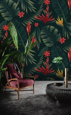 Red Floral Wallpaper Palm Leaf Wall Mural Vintage Flower Wall Art Exotic Home Decor Living Room Bedr