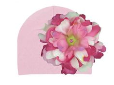 Pale Pink Cotton Hats with Pink Raspberry Large Peony