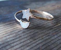 Star Moon Agate Druzy Gold Statement Bangle Dual Bracelet