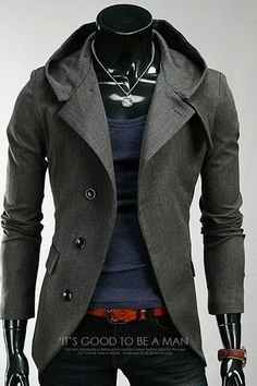 Fall 2016 Men Blazer Suit With Hood blazer masculino British Vintage Casual Suit cardigam Ternos Blazer trench coat clothes H01