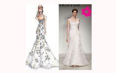 Vestido de noiva de alça, com renda transparente e detalhes em flor de organza.