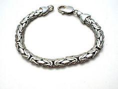 "Sterling Silver Byzantine Bracelet Link Chain 7"" Hallmarked 925 Fashion 24.4 grs"