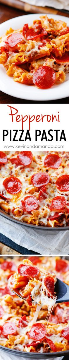 Pepperoni Pizza Pasta. Only six ingredients, done in 15 mins, and everything cooks in one pan, even the pasta. Easy family dinner recipe!