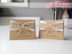 Rustic wedding hessian twine   The Goldilocks Collection - Luxury Place Cards   Featuring two layers of ribbon, 1 satin and 1 hessian and a twine bow   Luxury handmade wedding invitations and stationery #byenchanting