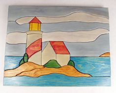 Handcrafted Wooden Intarsia Lighthouse Wall by ronisboutique, $65.00