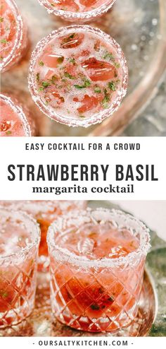 Tired of the straight-up margarita? This strawberry basil margarita is a fun twist on the classic. It's a sweet, tart and refreshing summer cocktail, perfect for celebrating. Whip up a batch of these sugar free strawberry margaritas for your next happy hour, picnic or party. #strawberrymargarita #margarita #spring #cocktail
