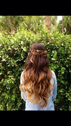 Half crown braid and waves. Love her long ombré hair!! Done by: @hannashair on Instagram #promhair #ombre