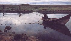 Oil painting of gillnetting, The salmon fisher by Eilif Peterssen.- Wikipedia, the free encyclopedia