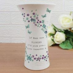 Personalised Ceramic Vase - Personalised Forget me not Ceramic Waisted Vase - Mother's Day Vase - Gift for Grandma - Nanny - Nan - Auntie Mothers Day Gifts Uk, Valentines Day Gifts For Her, Gifts For Mom, Diy Valentine, Personalized Valentine's Day Gifts, Family Christmas Gifts, Flower Vases, Flowers, At Least