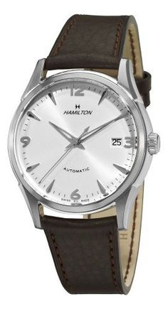 Hamilton Men's H38415581 Timeless Class Silver Dial Watch Hamilton. $618.00. Brown leather strap; Buckle. Water-resistant to 165 feet (50 M). Stainless steel case. Silver dial. Automatic movement. Save 27% Off!
