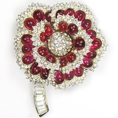 Boucher Pave and Ruby Cabochon Flower Pin ca 1960