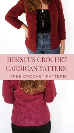 Hibiscus Free Crochet Cardigan Pattern - Burgundy and Blush - - A free crochet cardigan pattern using the herringbonedouble crochet stitch and perfect for beginners making their first cardigan or garment! Easy Crochet, Free Crochet, Knit Crochet, Crochet Sweaters, Crochet Stitch, Crochet Tops, Crochet Jumpers, Crochet Shrugs, Crochet Vests