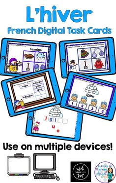 C'est l'hiver!  Engage your French students with this fun set of 5 digital task cards.  Great for any device, students will love practicing their French Winter vocabulary!