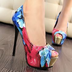 New Fashion Painting Flowers Pattern Womens High-heel Peep-toe Prom Shoes