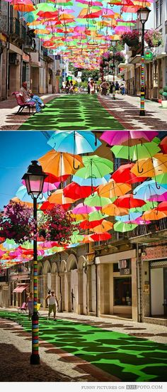 Umbrella street, Portugal Bucket list travel destination
