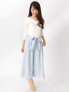 裾刺繍スカーチョ
