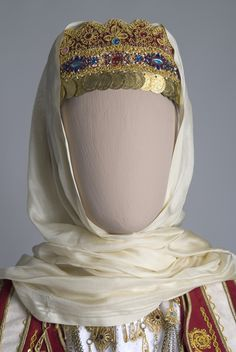 """""""Koronatsi"""" the bridal head-piece, part of the bridal costume from Maroussi, Attica. © Historical and Folk Art Museum of Amaroussion, Athens, Greece. Greek Traditional Dress, Traditional Outfits, Ancient Greek Costumes, Greek Dress, Greek Royalty, Greece Outfit, Greek Pattern, Mother Of Bride Outfits, Court Dresses"""