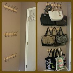 ideas closet organization ideas purses handbag storage for 2019 Organizing Purses In Closet, Apartment Closet Organization, Purse Organization, Closet Storage, Bedroom Storage, Bedroom Decor, Budget Organization, Storage For Purses, Purse Organizer Closet