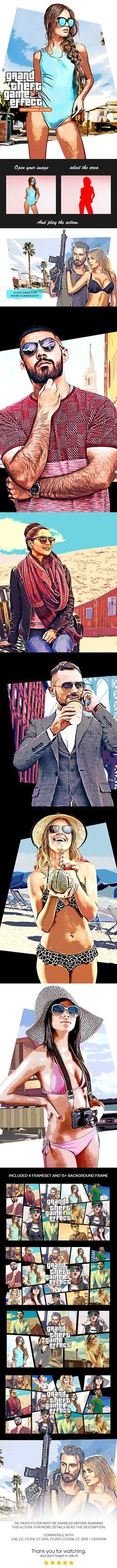 GrandTheft Game Theme Effect - Photoshop Action by haicamon .- GrandTheft Game Theme Effect – Photoshop Action by haicamon Photoshop Tutorial, Actions Photoshop, Effects Photoshop, Cool Photoshop, Lightroom, Photoshop Website, Photoshop Photography, Art Photography, Photography Articles