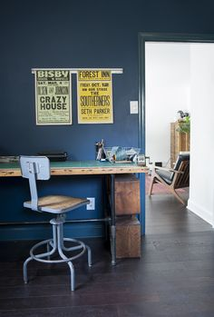 A Modernized Charmer for Creatives in Pennsylvania, Design*Sponge Mid Century Modern Colors, Louisiana Homes, Workspace Inspiration, Cool Office, Blue Walls, Room Paint, Cool Furniture, Beautiful Homes, Family Room