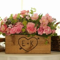 Rustic Wedding Wooden Box Planter Centerpiece Flowers Cards Programs Personalized Woodburned Initials