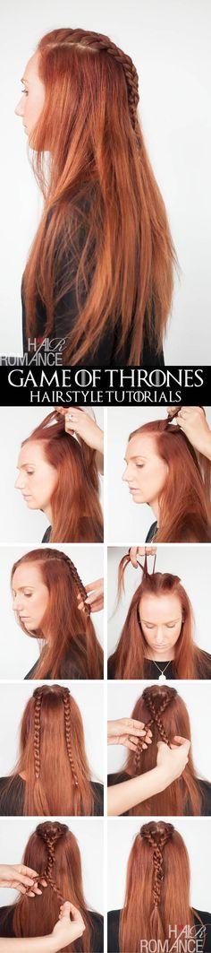 Game of Thrones Hairstyles - Sansa Stark braid tutorial - Hair Romance Hair Romance - Game of Thrones - Frisuren-Tutorials - Sansa Stark-Zöpfe Game Of Thrones, Trendy Hairstyles, Braided Hairstyles, Medium Hair Styles, Long Hair Styles, Hair Romance, Hair Game, Great Hair, Long Hairstyles