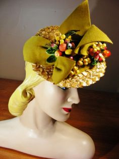 Vintage 30s 40s Tilt Tip Straw Doll Hat Fruit Berries Bows Lily Street
