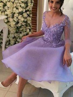 A-line+Scoop+Knee-length+Organza+Cocktail+Dresses/Short+Prom+Dress#+ZP064