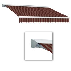 AWNTECH 8 ft. Destin-LX Manual Retractable Acrylic Awning with Hood (84 in. Projection) in Burgundy/Tan, Brown/Tan