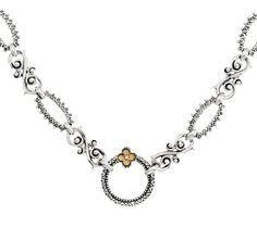 Barbara Bixby Sterling & 18K Textured Link 18-1/2 Necklace