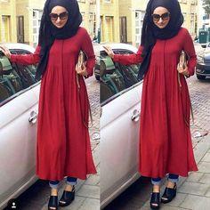 Inspiring Image by ßeãúTÿ Ǫúĕeǹ Lȋlly Modest Fashion Hijab, Modern Hijab Fashion, Muslim Women Fashion, Frock Fashion, Casual Hijab Outfit, Hijab Fashion Inspiration, Islamic Fashion, Modest Outfits, Fashion Outfits