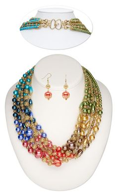 DIY Necklace and Earring Set with Glass Pearl Beads. Design by Esther Pollock.  Design Idea D10F