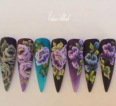 Nai dep Fork Art, One Stroke Nails, One Stroke Painting, Dream Nails, Flower Nail Art, Finger, Pink Nails, Beauty Nails, You Nailed It