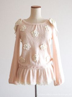 LIZ LISA Knit Flower-deco Off-shoulder Ribbon Tunic OP Dress gyaru Lolita Japan #LIZLISA #Tunic
